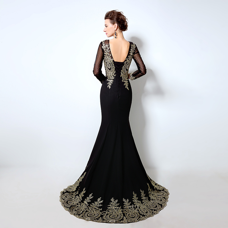 Elegant Long Sleeve Mermaid Long Evening Dresses Lace Appliques Black - Gaun acara khas - Foto 2