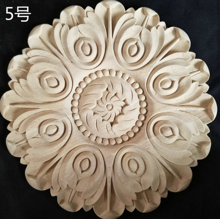 Diameter:300mm. thickness:15mm Wood carved circular decals AppliqueDiameter:300mm. thickness:15mm Wood carved circular decals Applique