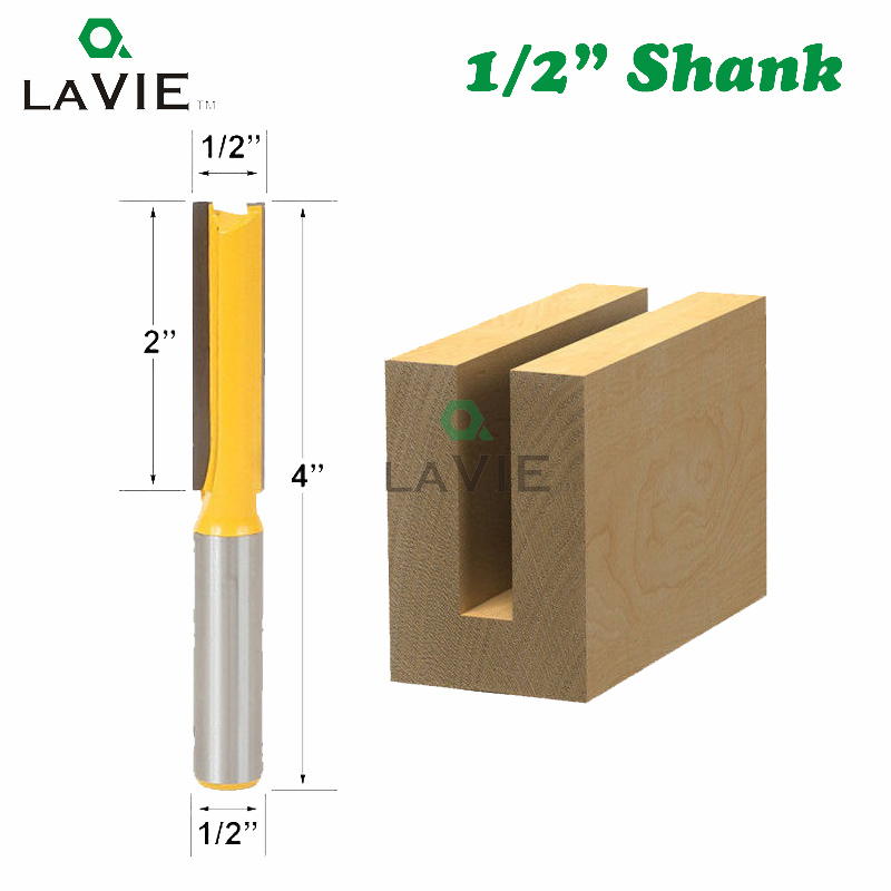 LAVIE 1pc 12mm 1/2 Shank Extra Long Straight Router Bit 2