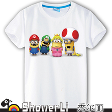 Cotton short sleeve children t shirts, cute cartoon t-shirt,Despicable me game boys girls t-shirt lovely figure kids