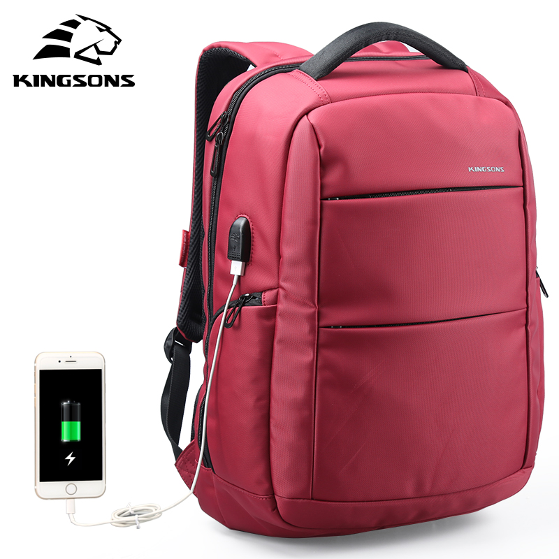Kingsons Nylon Backpack Charging USB Function Laptop Backpack Anti-theft Man Business Dayback Women School Backpack KS3142W men s backpack anti theft usb charging travel backpack waterproof nylon unisex school bags for female laptop business backpack
