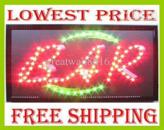 19x10 Led outdoor open sign light,Neon bar pub sign display board,red&green,support DIY-XP-18