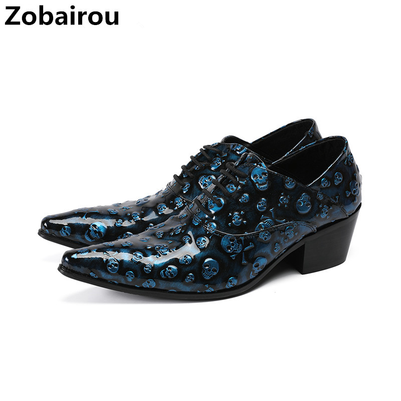 Zobairou mens shoes high heels genuine leather skull prom formal shoes men party wedding dress loafers zapatos hombre vestir