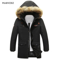 Business Casual Long Stlye Mens Winter Parka Warm Snow Thick Brand AFS JEEP Coats Fur Collar