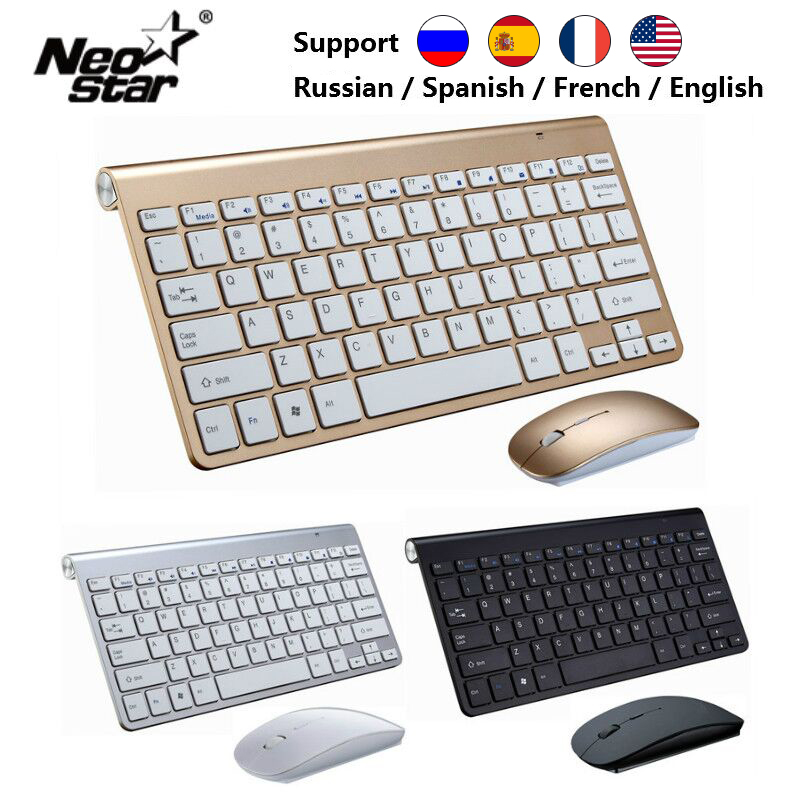 Ultra Slim 2.4G Wireless Keyboard Portable Mouse Mini Set Keyboard for IOS Android For Mac/Notebook/TV Box/PC Office Supplies(China)