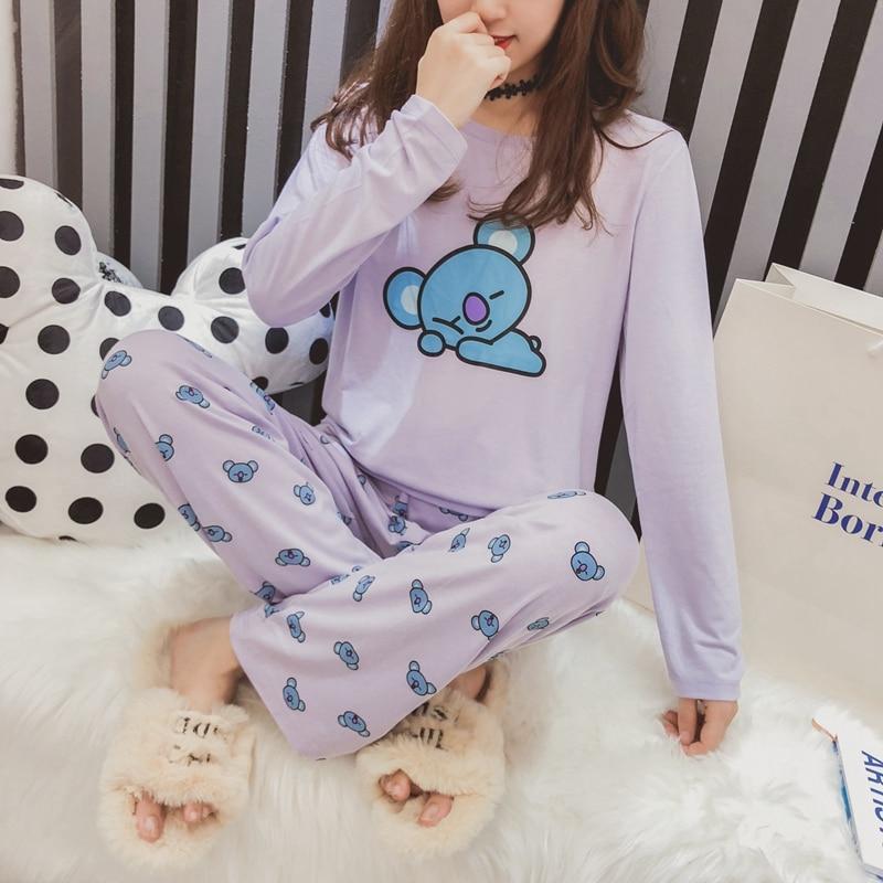 Kpop BTS BT21   Pajamas     Set   Women Bangtan Boys Cartoon Version Suga Harajuku   Pajamas   Sleepwear Long Sleeve Shirt Men Women Bedgown