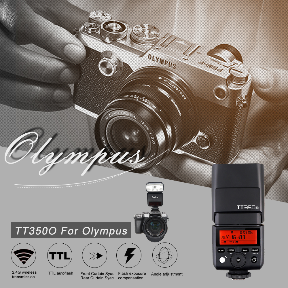 Godox Mini Thinklite TTL TT350O Camera Flash High Speed 1/8000s GN36 For Olympus/Panasonic Digital Camera+Soft Box+Color Filter godox mini thinklite i ttl tt350n camera flash high speed 1 8000s gn36 for nikon digital camera