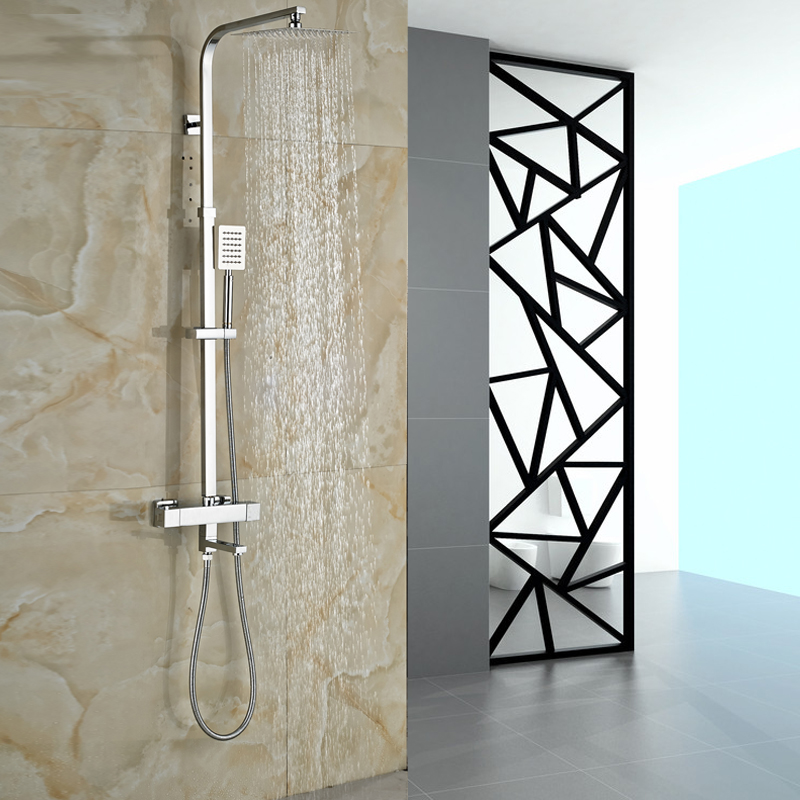 Thermostatic Double Handle Shower Faucet Chrome Brass 3-functions 8