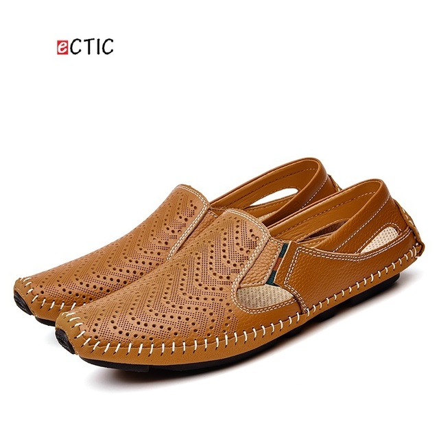 0a34173d0e17 Big Size Men Flats Driving Shoes Genuine Leather Men Casual Shoes Men  Loafers Comfortable Plus Size 45 46 47