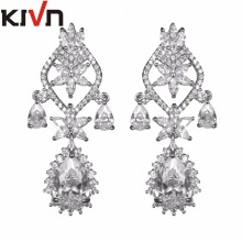 KIVN Fashion Jewelry Royal Blue Dangle CZ Cubic Zirconia Women Girls Bridal Wedding Earrings Mothers Promotion Birthday Gifts
