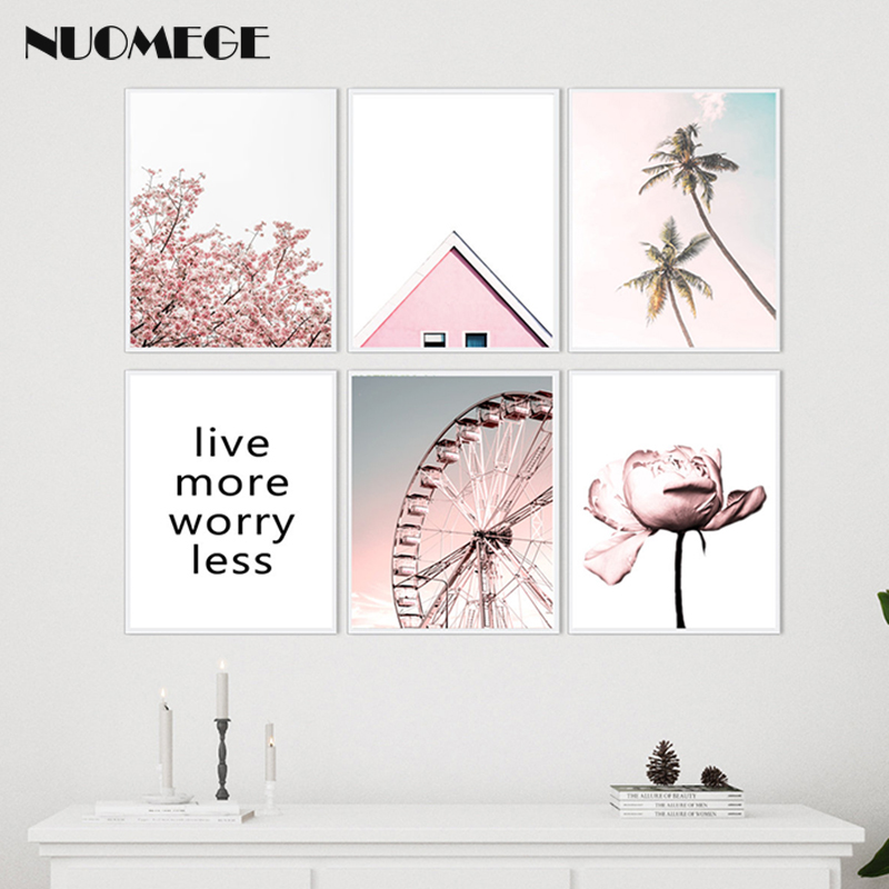 Canvas Painting Wheel-Poster Blush Roof-Building-Pictures Peony Palm-Trees Wall-Art Prints