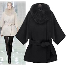 MwOiiOwM New Stylish Women's Warm Thickening Faux Fur Collar Casual Loose Hooded Overcoat Jacket Cloak Coat with Belt 18