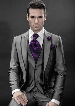 2016 Newest Groom Tuxedo Groomsmen Shiny Grey Wedding/Dinner/Evening Suits Best Man Bridegroom (Jacket+Pants+Tie+Vest)