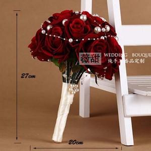 Image 2 - 花ブライダルブーケ faybox 赤ローズカスタム人工結婚式のブーケラインストーンパールブライダルブーケウェディング