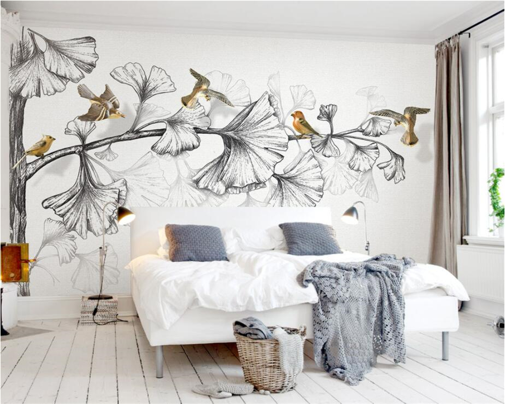 Beibehang Custom wall wallpaper living room bedroom murals black and white sketch ginkgo leaves 3d flying birds TV 3d wallpaper customize leaves blue sky and white clouds 3d ceiling murals wallpaper living room bedroom