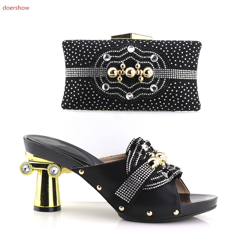 doershow beautiful Italian Matching Shoes And Bag Set African Style Ladies Peach Shoes And Bag To Match For Wedding  SHV1-4 doershow wholesale african party shoes and bag lovely italian matching shoes and bag lowest price gold color size 38 42 wow38