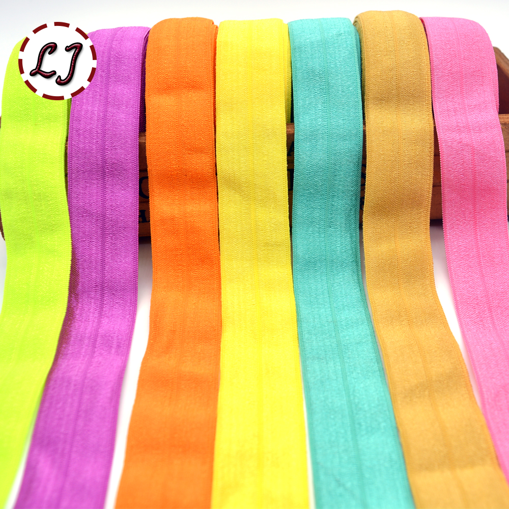 High Quality 1''(25mm) Hair Tie Binding Tape Shiny Elastic Ribbon Lace Trim Webbing Solid Headwear Handmade Decoration Crafts