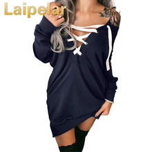 цена на Sexy Off Shoulder Hoodies Women Lace up Bandage Tops Deep V Neck Sweatshirt female Pullovers Long Sleeves Casual Top Outwear