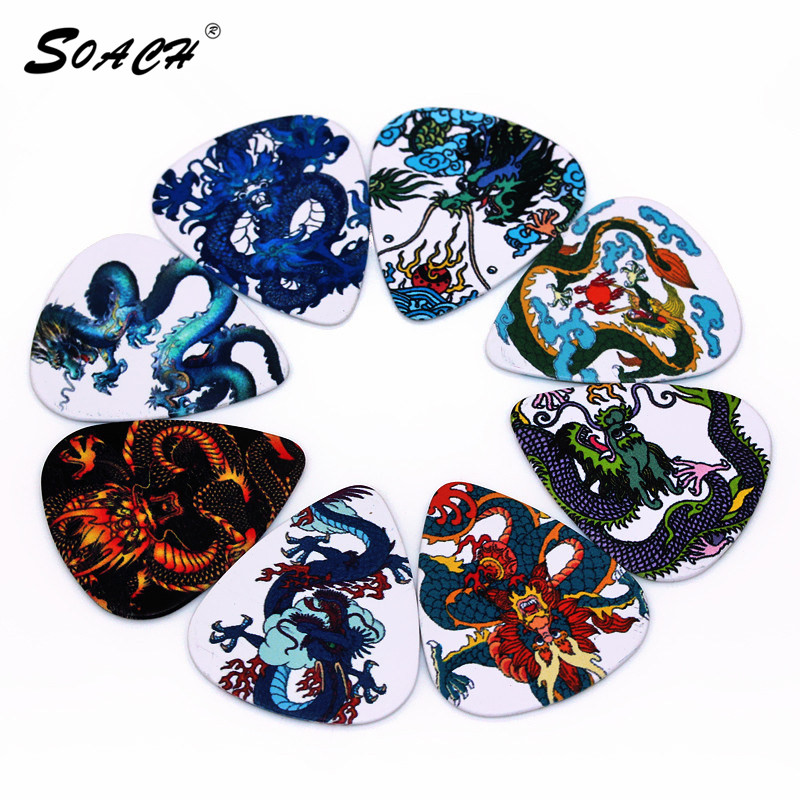 SOACH 10pcs/Lot 1.0mm Thickness Guitar Strap Guitar Parts Cool Dragon Design Guitar Picks