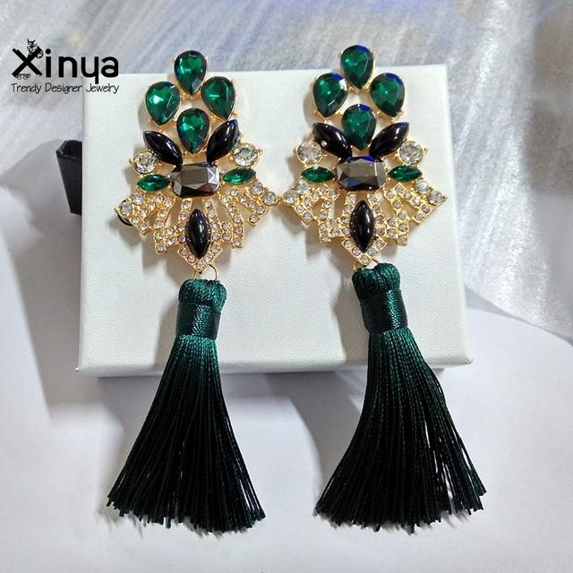 Women Trendy Crystal Gold Plated Long Drop Tassel Statement Earrings