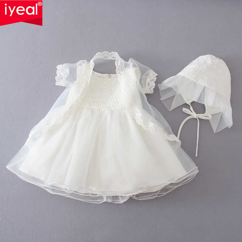 7f7cf110999 IYEAL Wedding Baby Flower Girls Christening Pageant Party Baptism Dresses  With Shawl +Hat Infant Newborn