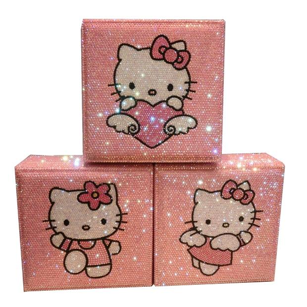 Fait à la main Hello Kitty diamant boîte de rangement organisateur strass maquillage organisateur en bois bijoux boîte perle conteneurs de stockage mignon