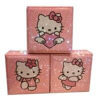 Handmade Hello Kitty Diamond Storage Box Organizer Rhinestone Makeup Organizer Wooden Jewerly Box Bead Storage Containers Cute