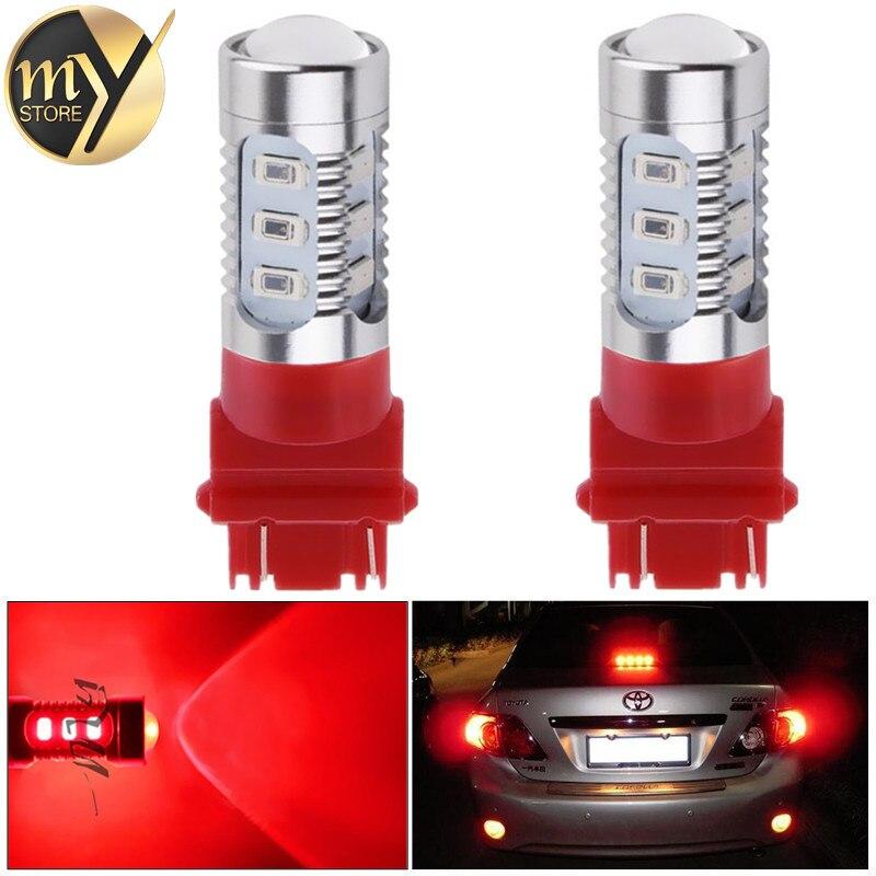 2pcs 3157 3156 car light Source 12 SMD 5630 5W XPE P27/7W led High Power P27W led car bulbs Brake Lights Red Parking