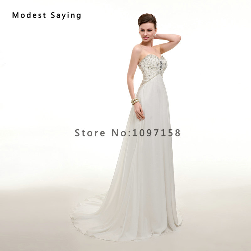 Elegant Ivory Beaded Pregnant Wedding Dresses 2017 with Rhinestone ...