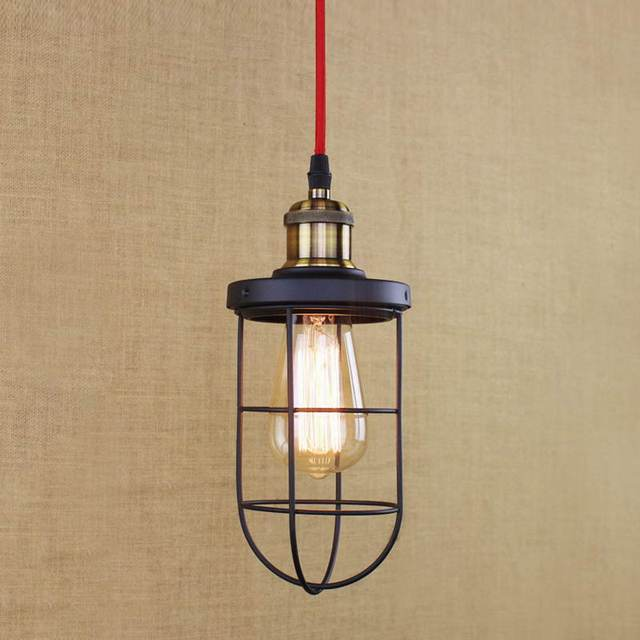 LOFT Industrial black retro metal wire pendant lamp /Edison Simple ...