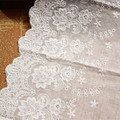 5Yards/lot Width 22cm White100% cotton embroidered lace fabrics, Women's clothing diy lace trim, Free Shipping RS422