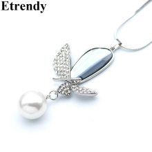 Etrendy Crystal Butterfly Pendant Long Necklace Women Jewelry Rhinestone Simulated Pearl Necklaces Bijoux Fine Gift