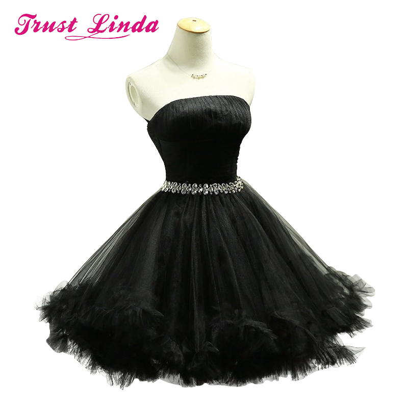 Knee Length Bridesmaid Dresses Party Ball Gown Sexy Prom Dress Black