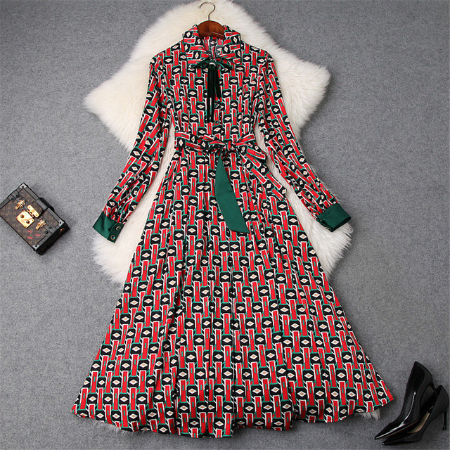 2019 New Spring Designer Dress Women Top Quality Fashion Long Sleeve Bowknot Geometric Print Lace Up Midi Aline Dress Casual
