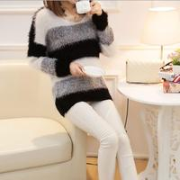 2016 Women Sweaters And Pullovers Autumn Spring Cashmere Sweater Slim O Neck Women Knitted Striped Thicken