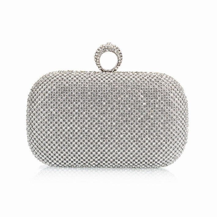 (You Sure Love ) Super Luxury Popular Women Full Diamond Finger Ring Evening Bags Clutch Purse/Bling BagGold/Silver/Black NO1240