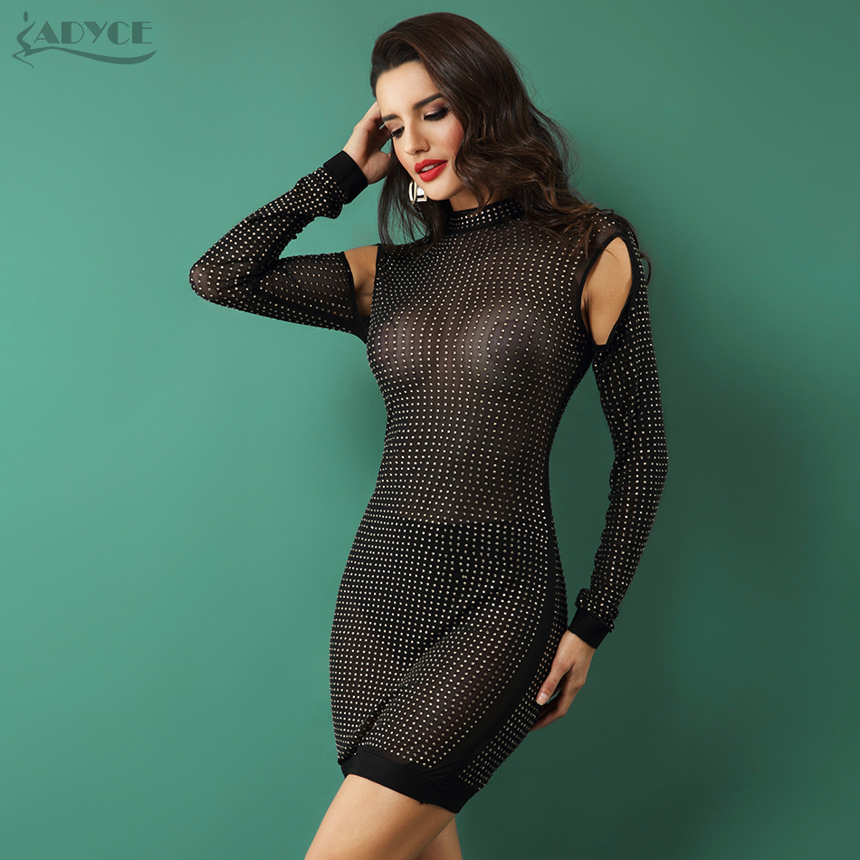 2019 New Women Party Dress Bodycon Dress Long Sleeve Studded Button Black Mesh O-Neck Celebrity Sexy Bandage Dress Wholesale