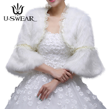 U-SWEAR 2018 New Arrival White Faux Fur Lace Ruffle Women Wedding Jacket Full Sleeve Accessories Warm Bridal Wraps Shawl