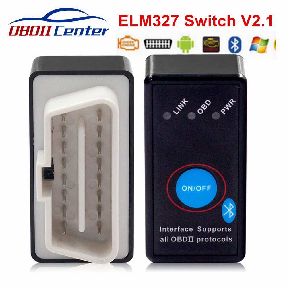 Mini Bluetooth ELM 327 V2.1 Switch OBD II Scanner Super Mini ELM327 Hardware 2.1 OBDII Diagnostic Tool On/Off Power Switch