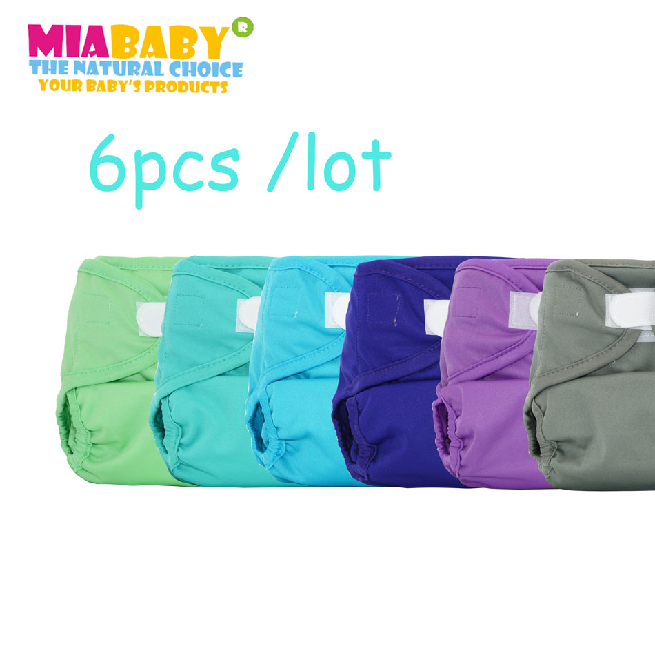 Miababy 6pcs/lot Reusable Plain Cloth Diaper Cover Washable Baby Nappy Baby Cloth Diaper Unisex, Fit 4-24 Months Or 5-15 Kg Baby