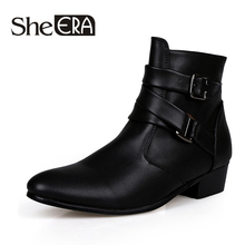 2019 New Men's Leather Boots Fashion Multi-Color High To Help Pointed Spring Autumn Comfortable Boots Large Size White Boots