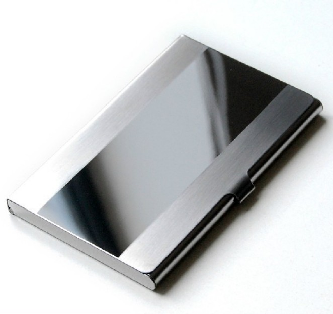 Stainless Steel Silver Aluminium Business Credit Passport Card Bag ID Passport Card Wallet ID Credit Card Holder Case Cover Men m square travel card holder men women passport cover id business credit card wallet organizer purse bag case passport holders