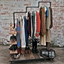 Кантри стиль вешалка для одежды промышленный Лофт трубы деревянный стеллаж для одежды Многофункциональный стеллаж для хранения одежды/вешалка для одежды полка