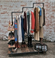 Country Style Clothing Rack Industrial LOFT Pipe Wood Garment Rack Multifunctional Clothes Storage Rack/Clothing Hanger Shelf