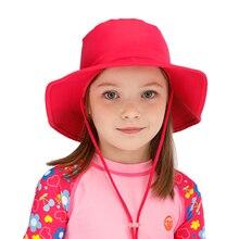 Летняя Детская Солнцезащитная шляпка Дети Открытый шеи ухо Обложка Anti UV защита пляж Кепки s для мальчиков и девочек плавательный клапаном кепки для От 7 до 14 лет