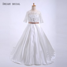 Dreamy Bridal Vintage Lace Flower Girl Dresses With Pearls Sash Illusion  Half Sleeves Glitter Stones For 25e51d177f27