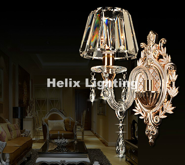 Modern Clear 1 Arm and 2 ArmsCrystal Bedroom Wall Lamp Crystal Sconce with 100% K9 Crystal Wall Lamp AC 100% Guaranteed 2 color guaranteed 100