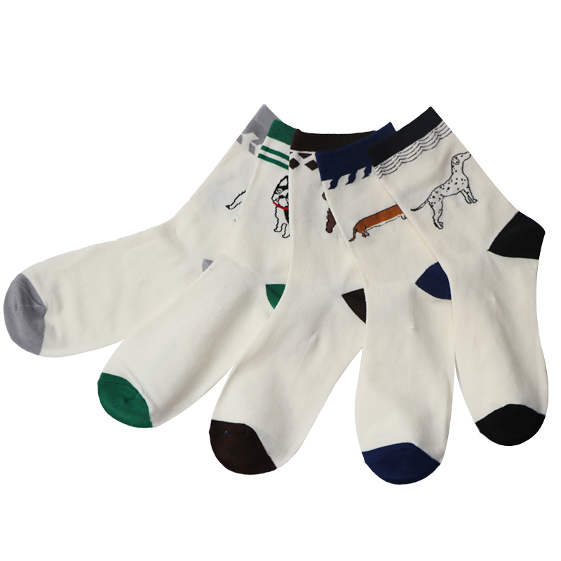 5Pair/Lot Lovely Cute Animal Embroidery Women Socks Female White Socks Woman Funny Meias ...