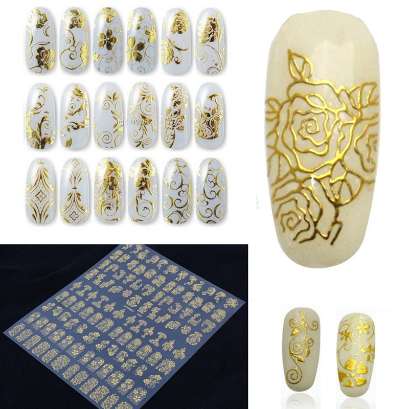 108pcs/sheet Gold 3D Nail Art Stickers Decals Metallic Nail Stickers Manicure Nail Art Decorations Water Transfer Stickers Tips
