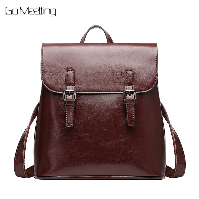 NEW Famous Brand Women Backpack Vintage Genuine Leather Women Leisure Solid Color Satchel Girl Backpacks Mochila Designer Bags leisure women s satchel with solid color and string design